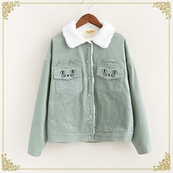 Fairyland - Cat Embroidered Buttoned Corduroy Jacket