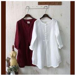 Rosadame - 長袖麻布連衣裙