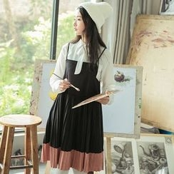 sansweet - Set: Tie Neck Shirt + Accordion Pleated Pinafore Dress