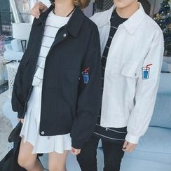 CooLook - Couple Matching Print Collared Jacket
