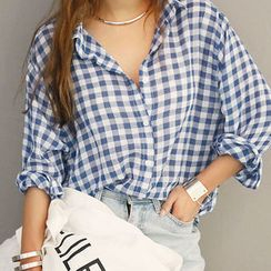 NANING9 - Cotton Gingham Shirt
