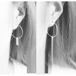 Zentangal - 不对称圆圈金属流苏耳环