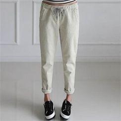 CHICFOX - Drawstring-Waist Flat-Front Pants
