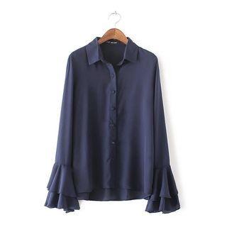 Hanni - Long-Sleeve Plain Blouse