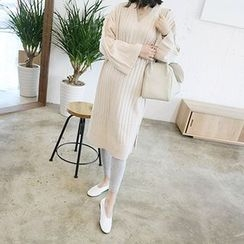 MARSHMALLOW - Maternity V-Neck Knit Midi Dress