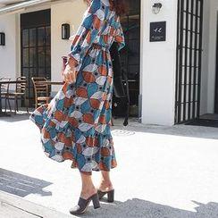 DISCOSALON - Wrap-Front Pattern Long Dress