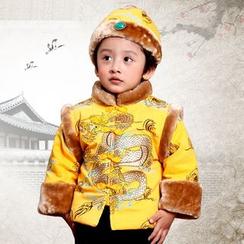 Emperial - 童裝: 毛絨邊龍刺繡盤扣上衣 + 褲子  + 帽子