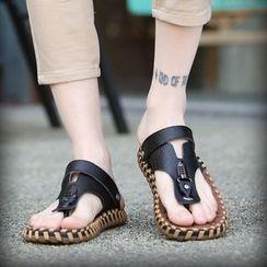 Shino - 真皮夾趾涼鞋