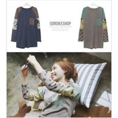 GOROKE - Mixed Print Raglan T-Shirt