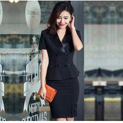 Aision - Short-Sleeve Blazer / Pencil Skirt