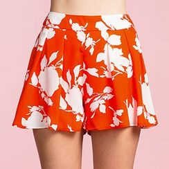 Richcoco - Printed Chiffon Wide Leg Shorts