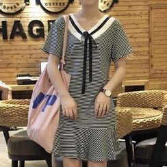 MayFair - Stripe Ruffle Hem Short-Sleeve Dress