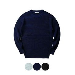 STYLEMAN - Round-Neck Mélange Knit Top