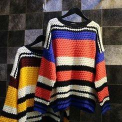 Jade Rabbit - Waffel Knit Striped Sweater