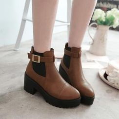 Charming Kicks - Faux Leather Ankle Boots