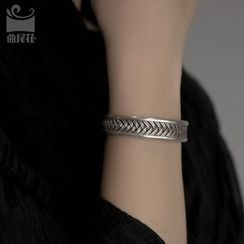 Zeno - Woven Silver Open Bangle