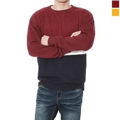 Seoul Homme - Round-Neck Color-Block Sweatshirt
