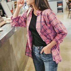 Envy Look - Pocket-Front Plaid Shirt