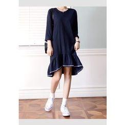 DEEPNY - Long-Sleeve Stitched Ruffle-Hem Dress