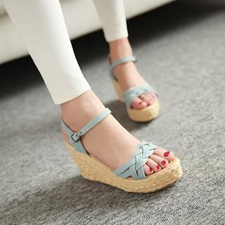 JY Shoes - Braided Strap Wedge Sandals