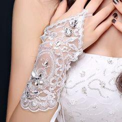 Nymphie - Embellished Lace Wedding Gloves