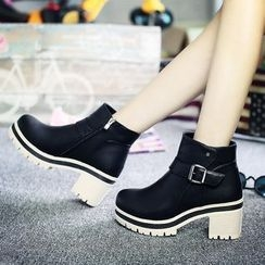 Yoflap - Buckled Stack Heel Ankle Boots