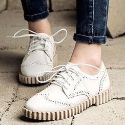 MIAOLV - 繫帶布洛克鞋