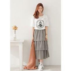 J-ANN - Gingham Long Tiered Skirt
