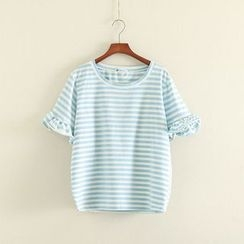 Mushi - Ruffle Short-Sleeve Striped T-Shirt