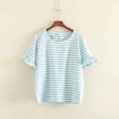 三木社 - 荷叶短袖条纹T恤