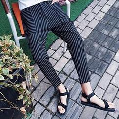Zeesebon - Pinstriped Panel Harem Pants