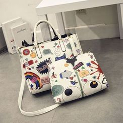 Secret Garden - Set: Print Square Tote with Shoulder Strap + Cosmetic Bag
