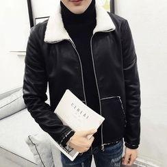 LIBIN - Fleece Lined Faux Leather Jacket