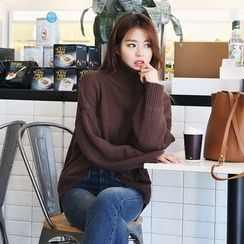 DABAGIRL - Turtle-Neck Drop-Shoulder Knit Top