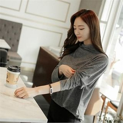 ZIZIBEZIRONG - Mock-Neck Long-Sleeve Top