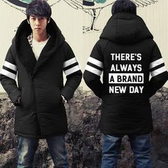 Bay Go Mall - Lettering Hooded Down Coat