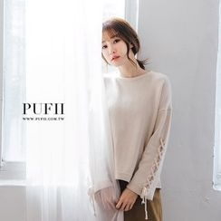 PUFII - Lace-up Sleeve Knir Top