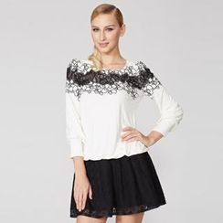 O.SA - Embroidered Lace-Panel Long-Sleeve Top