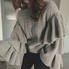 Emeline - 喇叭袖搭层麻花针织毛衣