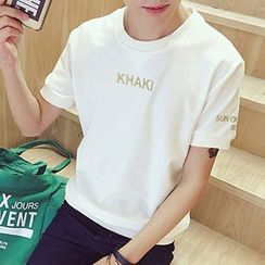 maxhomme - Embroidered Letter Short-Sleeve T-shirt