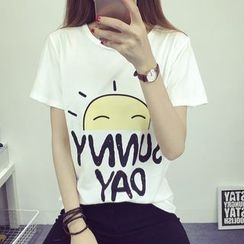Magic Mirror - 太阳卡通印花圆领T恤