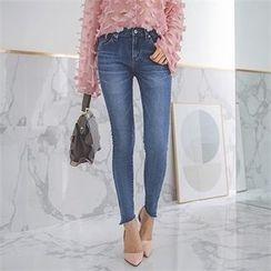 ERANZI - Asymmetric Slit-Hem Skinny Jeans