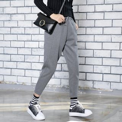 Sonne - Low-Crotch Cropped Casual Pants