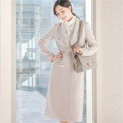 Attrangs - Metallic-Button Double-Breasted Long Coat