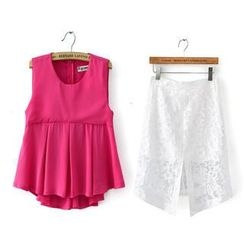 JVL - Set: Sleeveless Top + Lace Skirt