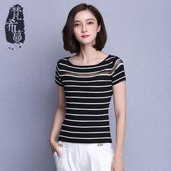 Fancy Mono - Striped Short-Sleeve Knit Top