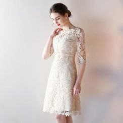 Fantasy Bride - Elbow-Sleeve Lace Sheath Cocktail Dress