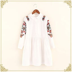 Fairyland - Floral Embroidered Collared Long Sleeve Dress