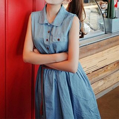 Ashlee - Sleeveless Collared Denim Dress