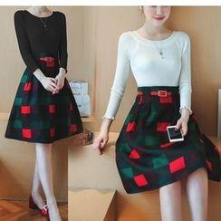 Mandalle - Set : Plain Knit Top + Gingham Skirt